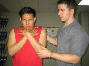 Helping a choking victim - encourage coughing